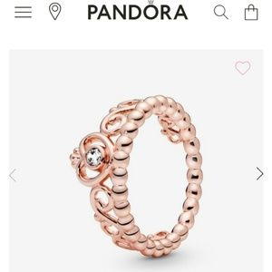 Authentic pandora Tiara crown ring rose
